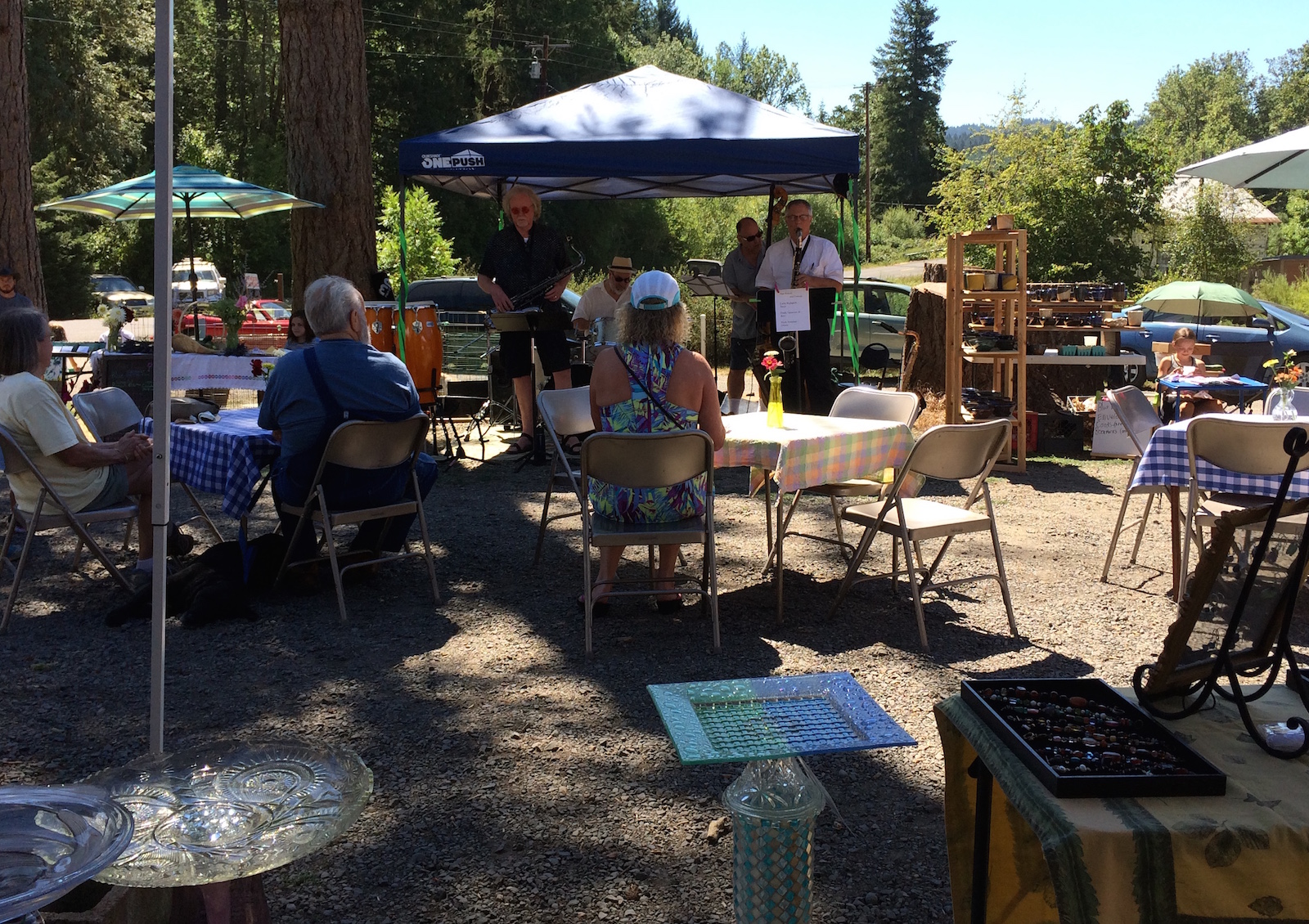 The Daniel Powell Quartet performing at the Spencer Creek Growers Market on July 28th