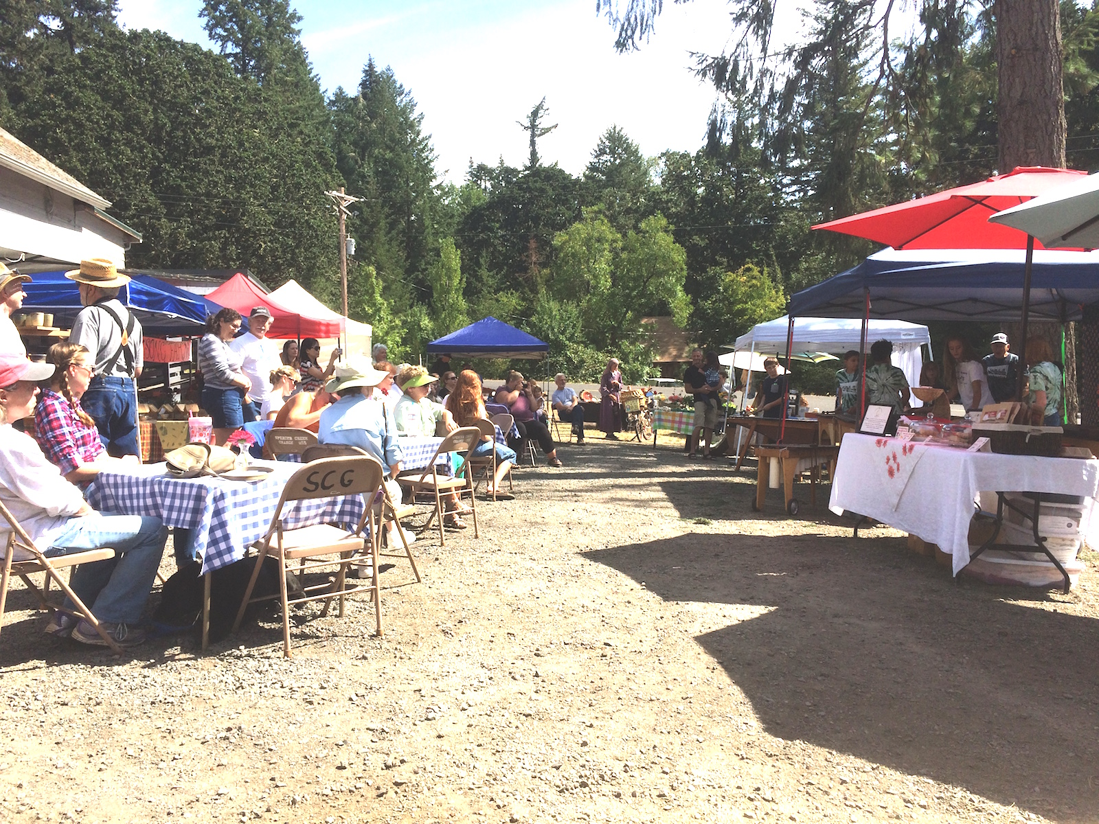 View of the Market last week when the Adams School Marimba Band performed at the Spencer Creek Growers Market