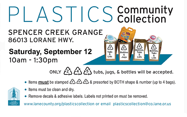 Sept 12 plastics collection at the Spencer Creek Grange